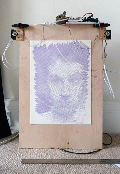 Small polargraph machine finished drawing my big goons face